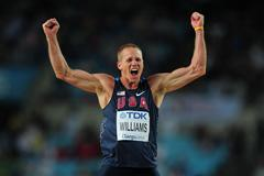 Jesse Williams of United States celebrates during the men's high jump final during day six  (Getty Images)
