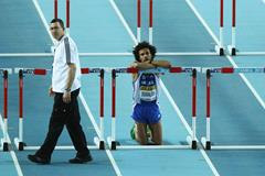 Konstadinos Douvalidis of Greece looks on after a false start in the Men's 60 Metres Hurdles first round during day two - WIC Istanbul (Getty Images)