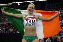 Derval O'Rourke of Ireland celebrates winning gold in the 60m Hurdles final (Getty Images)