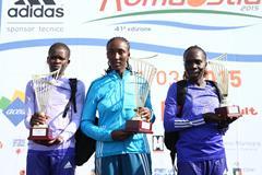 The women's podium at the 2015 Rome-Ostia Half Marathon (organisers / Giancarlo Colombo)