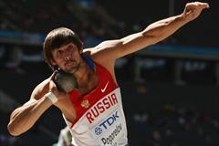 Aleksandr Pogorelov of Russia launches the shot to a personal best distance of 16.65m in the men's Decathlon Shot Put in Berlin (Getty Images)