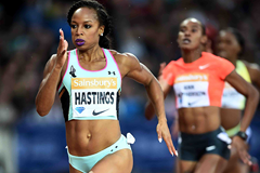 Natasha Hastings on her way to winning the 400m at the IAAF Diamond League meeting in London (Jean-Pierre Durand)
