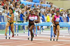 Dawn Harper sets a world-leading 12.60 in the 100m Hurdles at the 2013 Doha Diamond League (Errol Anderson)