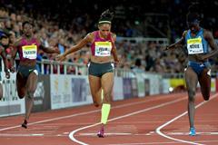 Allyson Felix winning the 200m at the 2014 IAAF Diamond League meeting in Stockholm (DECA Text & Bild)