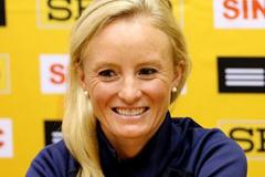Shalane Flanagan at the pre-champs press conference in Kavarna (Getty Images)