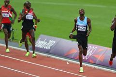 David Lekuta Rudisha of Kenya going to victory  ahead of Nijel Amos of Botswana and win gold and set a new world record in the Men's 800m Final of the London 2012 Olympic Games  on August 9, 2012  (Getty Images)