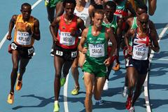 L-R) Abraham Kiplimo of Uganda, Amanuel Mesel of Eritrea, Alistair Ian Cragg of Ireland and Mohamed Farah of Great Britain lead the pack in the men's 5000 metres heats during day six (Getty Images)