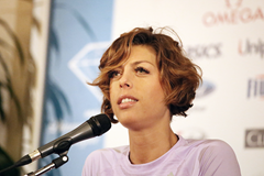 Blanka Vlasic at the press conference for the IAAF Diamond League meeting in Rome (Gladys von der Laage)