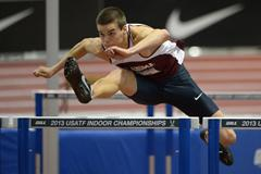 Gunnar Nixon on his way to a 6232 victory in the Heptathlon at the US Indoor Championships (Kirby Lee)