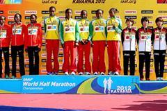 Women's team podium in Kavarna: silver medallists Kenya, winners Ethiopia, and bronze medallists Japan (Getty Images)