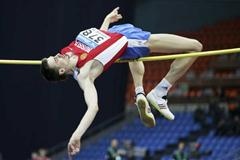 Yaroslav Rybakov of Russia on his way to winning the gold medal in the High Jump final (Getty Images)