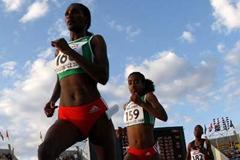 Sule Utura of Ethiopia leads Genzebe Dibaba of Ethiopia and Lucia Kamene Muangi of Kenya on her way to victory in the final of the Women's 5000m Final (Getty Images)