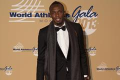 Usain Bolt arrives at the 2013 World Athletics Gala (Philippe Fitte)