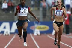 Ashton Purvis of USA and Klara Kolomazniko of Czech Republic in the 100m second round (Getty Images)