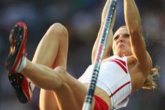 Anna Rogowska of Poland vaulting in the final of the women's Pole Vault in the Berlin Olmypic Stadium (Getty Images)