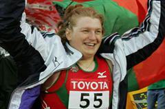 Nadezhsa Ostapchuk of Belarus celebrates winning gold in the women's Shot Put (Getty Images)