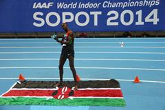Caleb Ndiku celebrates his 3000m win at the 2014 IAAF World Indoor Championships in Sopot (Getty Images)