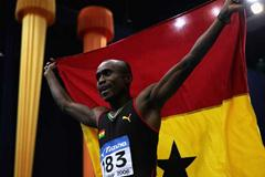 Ignisious Gaisah of Ghana celebrates his victory in the men's Long Jump final (Getty Images)