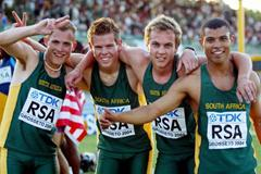 South Africa team celebrates their Silver Medal in the 4x400m Final (Getty Images)