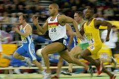 Jason Gardener of Great Britain wins the 60m final (Getty Images)