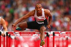 Damian Warner in the decathlon 110m hurdles at the Commonwealth Games (Getty Images)