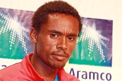 Feyisa Lelisa on the eve of the Houston Half Marathon  (Victah Sailer)