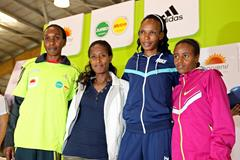 Gladys Cherono, Gelete Burka, Rita Jeptoo and Mare Dibaba ahead of the 2014 Bogota International Half Marathon (Victah Sailer / Organisers)