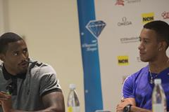 David Oliver and Orlando Ortega ahead of the 2015 IAAF Diamond League meeting in Stockholm (Deca Text&Bild)