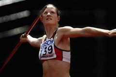 Katerina Cachova of Czech Republic during the Heptathlon Javelin Throw (Getty Images)
