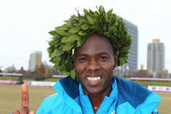 Patrick Makau after winning at the 2014 Fukuoka International Marathon (Takefumi Tsutsui - Agence SHOT)