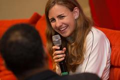 Mary Cain speaks to Ato Boldon in Monaco (Philippe Fitte)