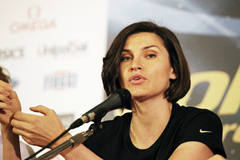 Anna Chicherova at the press conference for the IAAF Diamond League meeting in Rome (Gladys von der Laage)