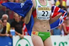 Amy Pejkovic of Australia celebrates her bronze medal in the High Jump (Getty Images)