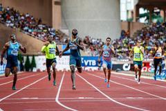 LaShawn Merritt winning the 400m at the 2014 IAAF Diamond League meeting in Monaco (Philippe Fitte)