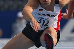 Jan Felix Knobel of Germany during the heats of the Decathlon junior 110m Hurdles (Getty Images)