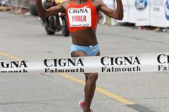 Wude Ayalew Yimer wins the Falmouth Road Race (Victah Sailer)