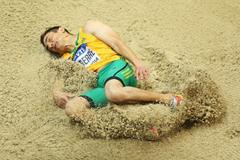 Fabrice Lapierre in the long jump qualifying at the 2014 IAAF World Indoor Championships in Sopot (Getty Images)