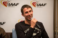 Bogdan Bondarenko speaks to the press in Monaco (Philippe Fitte / IAAF)