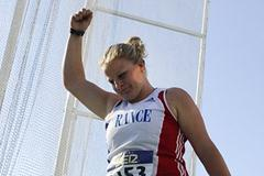 Alexandra Tavernier of France celebrates during the Women's Hammer Throw Final on the day five of the 14th IAAF World Junior Championships in Barcelona on 14 July 2012 (Getty Images)