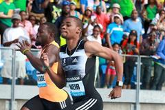 Warren Weir winning the 200m at the 2014 IAAF Diamond League meeting in New York (Victah Sailer)