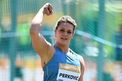 Sandra Perkovic at the 2015 IAAF Diamond League in Birmingham (Jean-Pierre Durand)
