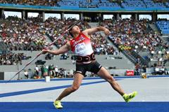 Japan's Yukifumi Murakami throws the javelin during the IAAF World Championships in the Berlin Olympic Stadium (Getty Images)