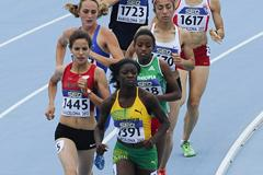 Desreen Montague of Jamaica leading during the 800m heats on day one of the 14th IAAF World Junior Championships in Barcelona (Getty Images)
