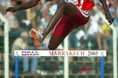 Abdulagadir Idriss of Sudan during the Boys' 400m Hurdles semi-final (Getty Images)