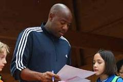 IAAF Ambassador Mike Powell during Kids' Athletics (Getty Images)
