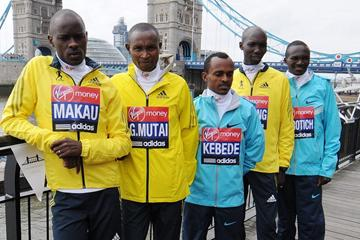 Patrick Makau, Geoffrey Mutai, Tsegaye Kebede, Wilson Kipsang and Stephen Kiprotich ahead of the 2013 Virgin London Marathon  (Getty Images)