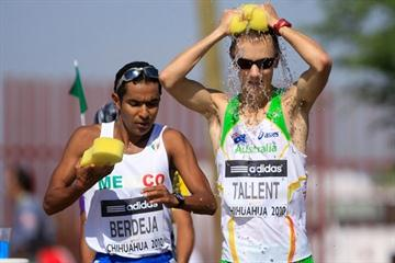 Jared Tallent of Australia at a water station in the men's 50km race walk (Getty Images)