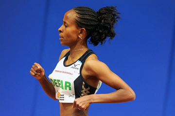 Meseret Defar on her way to a world indoor best over two miles (AFP / Getty Images)