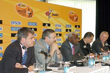 IAAF Communications Director Nick Davies, IAAF General Secretary Pierre Weiss, IAAF President Lamine Diack, Mayor of the City of Debrecen, LOC President Lajos Kósa (Zsolt Czegledi)