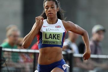 Morgan Lake in the heptathlon 200m at the 2014 IAAF World Junior Championships in Eugene (Getty Images)